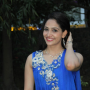 komal sharma beautiful cute stills in sleeveless blue churidar dress