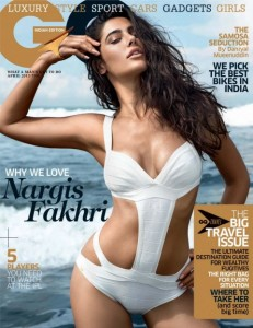 Nargis Fakhri Hot Pose On GQ India Magazine April 2013 Cover Page