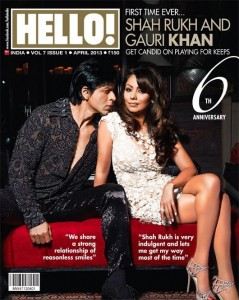 Shahrukh and Gauri On Hello! Magazine April 2013 Cover Page