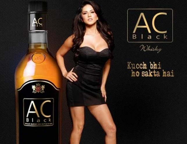 Bollywood Hot Actress Sunny leone Stills on AC BLACK WHISY Ad